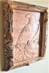 Eagle Wolf Wood Carving with Log Frame all in Aspen  Rustic Lodge Cabin Decor