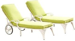 New Biscayne White Patio Chaise Lounge with Green Apple Cushion Set of 2 Elegant