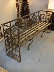 Pair of garden benches made from salvaged balconies