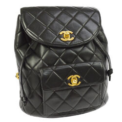 Auth CHANEL Quilted CC Chain Drawstring Backpack Bag Black Leather VTG AK18250