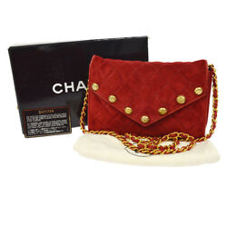 Auth CHANEL Quilted CC Button Chain Shoulder Bag Red Suede Vintage GHW AK12375