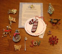Vintage Lot of Costume Pins Christmas Novelty 13 Pieces Total $24.99