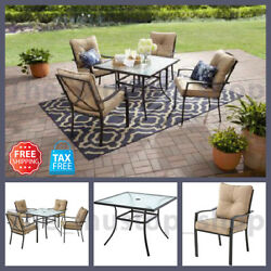 5 Piece Patio Dining Set for 4 Table and Chairs with Cushions Outdoor Furniture