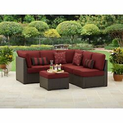 Outdoor Sectional Sofa Set Wicker Patio Cushioned Furniture All-Weather 3-Piece