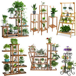 Wooden  Metal Plant Stand Flower Pot Shelves Corner Outdoor Indoor Garden Decor