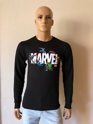 Black Authentic Long Sleeve Champion sportswear T Shirt Marvel Logo Size S $39.99