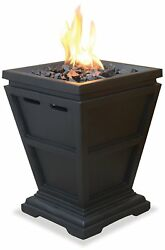 Propane Fire Pit Column Portable Small Patio Tabletop Fireplace Square Firepit