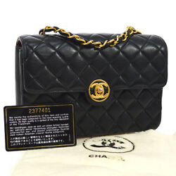 Auth CHANEL Quilted CoCo Button Single Chain Shoulder Bag Black Leather YG01779