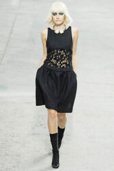CHANEL $7250 MOST WANTED BLACK SHEER PANEL LACE INSET RUNWAY DRESS NEW 36