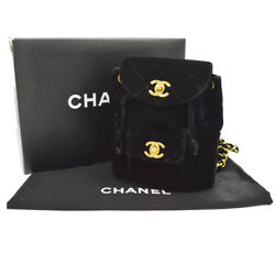 Authentic CHANEL CC Logos Quilted Backpack Bag Black Velvet Vintage GHW AK18494