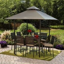 Patio Dining Room Set Outdoor Furniture Counter Height Table Chairs Canopy Cover