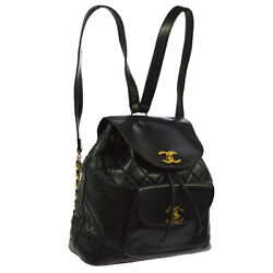 Auth CHANEL Quilted CC Logos Chain Backpack Bag Black Leather Vintage AK19809
