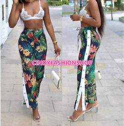 New Style Hot Floral Print Women Casual Beach Pants High Split Straight Trousers $20.88
