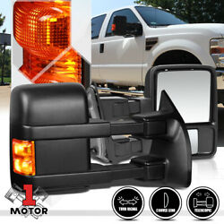 [Pair] Manual Telescoping LED Signal Towing Side Mirror for 08-16 F250 F350 SD $127.68