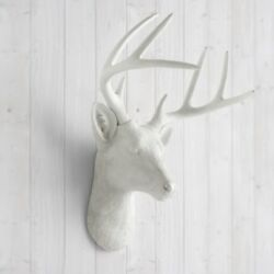 Modern Faux Deer Head Mount White Resin Southern Wall Decor Taxidermy Antlers
