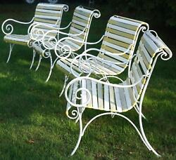 VINTAGE WOODARD IONIAN 6 PSC CAST IRON WHITE VINYL STRAP PATIO CHAIRS - LOUNGER