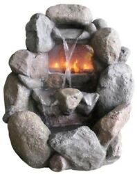 Stone Gray Faux Rock Fireplace Waterfall Water Fountain Indoor Outdoor Decor New