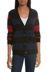 NWT EQUIPMENT 'Shelly' Striped Cashmere Cardigan Sweater RedBlackBlue Small