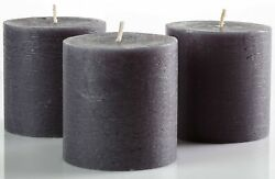 Set of 3 Charcoal Pillar Candles Dark Grey 3quot; x 3quot; Unscented Rustic for Decor $16.49