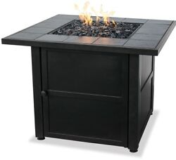 Ceramic Patio Fire Pit Table Outdoor Gas Fireplace LP Propane Heater Furniture