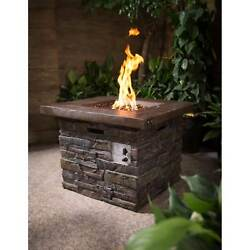 Outdoor Square Gas Fire Pit Table LP Heater Assembled Patio Furniture Fireplace