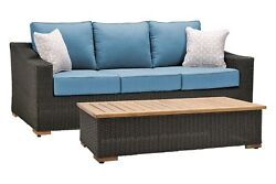 La-Z-Boy Outdoor New Boston Resin Wicker Patio Furniture Sofa with Pillow... New
