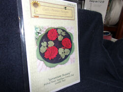 Geranium Beauty  wool applique penny rug candle mat pattern