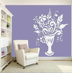 Vase Wall Stickers Flowers Art Decal Transfer Living room Bedroom Removable GBP 24.89