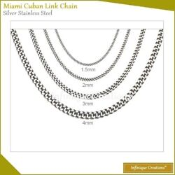 Stainless Steel Silver Miami Cuban Link Chain Bracelet And Necklace 7quot; 38quot; $5.89