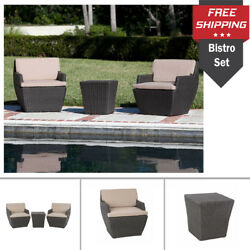 Square Wicker Bistro Set Steel Frame Outdoor Cushion Seat Side Table Patio Deco