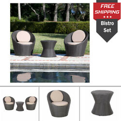 3Piece Round Wicker Bistro Set Outdoor Cushion Seat Side Table Chair Patio Deco