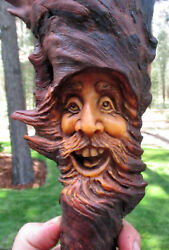 Tree Hobbit  Drift Wood Spirit carving Forest Gnome Log Home Cabin Art Decor