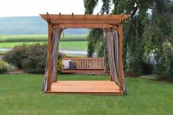 A&L Furniture Co. Amish-Made Cedar Pergola with Deck & 6' Porch Swing - 3 Sizes