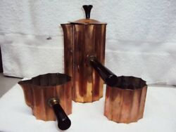 Chase 1933 Brass & Copper 3 Pc Coffee Set Art Deco Style Walter Nessen Diplomat