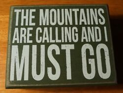 THE MOUNTAINS ARE CALLING AND I MUST GO Log Cabin Lodge Home Decor Wood Sign NEW