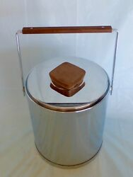 Vintage Mid Century Kromex Chrome & Walnut Insulated Ice Bucket Wine Cooler