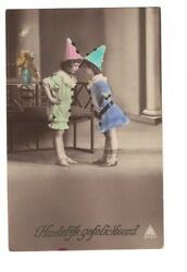 MB8102 VICTORIAN LITTLE PIERETTES IN COLORFUL DRESSES RPPC $11.00