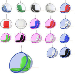 EERO AARNIO HANGING BUBBLE CHAIR CLEAR BLUE OR PINK ACRYLIC - 6 CUSHION COLORS