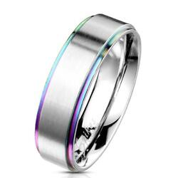 Gay Pride Ring Rainbow Edges Brushed Stainless Steel Lesbian LGBTQ FAST USA SHIP