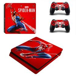 PS4 Slim Console Controllers Skin Marvel Spider Man Vinyl Decals Stickers Covers