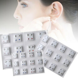 12 Pairs Steel Crystal Surgical Piercing Ear Stud Earrings for Piercing Gun Tool $3.28