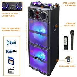 BEFREE SOUND DOUBLE SUBWOOFER BLUETOOTH DJ PA PARTY SPEAKER WITH LIGHTS MIC USB