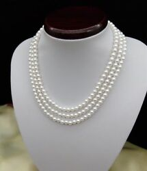 5-6 mm natural round south sea white Pearl Necklace  48