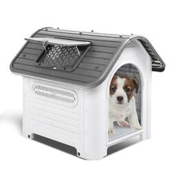Waterproof Plastic Dog Cat Kennel Puppy House Outdoor Pet Shelter Up to 30LB $65.99