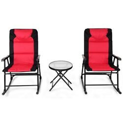 2x Folding Rocking Chair and 1 mini Table Patio Bistro Furniture Outdoor Garden