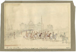 1st ANGLO-SIKH WAR VICTORY CEREMONY & ORIGINAL ca 1846 DRAWING SIGNED