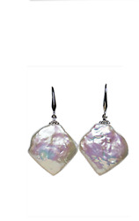A pair 14-15mm south sea pink baroque pearl earring ###