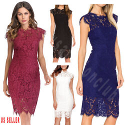 Womens Lace Floral Cocktail Party Wedding Evening Party Bridesmaid Formal Dress $21.99
