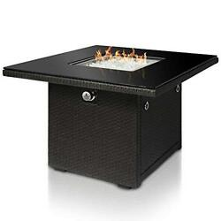 Outdoor Propane Gas Fire Pit Table 36-Inch Resin Wicker Panels Durable Safe Grey