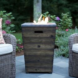 Outdoor Fire Pit Portable Fireplace Column Faux Wood Patio Propane Burner Rustic